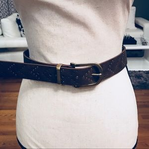 Style & Co Brown Leather Rivets Perforated Belt